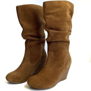 LE CHATEAU WEDGE BOOT SUEDE NEW TALL BOOT LEATHER